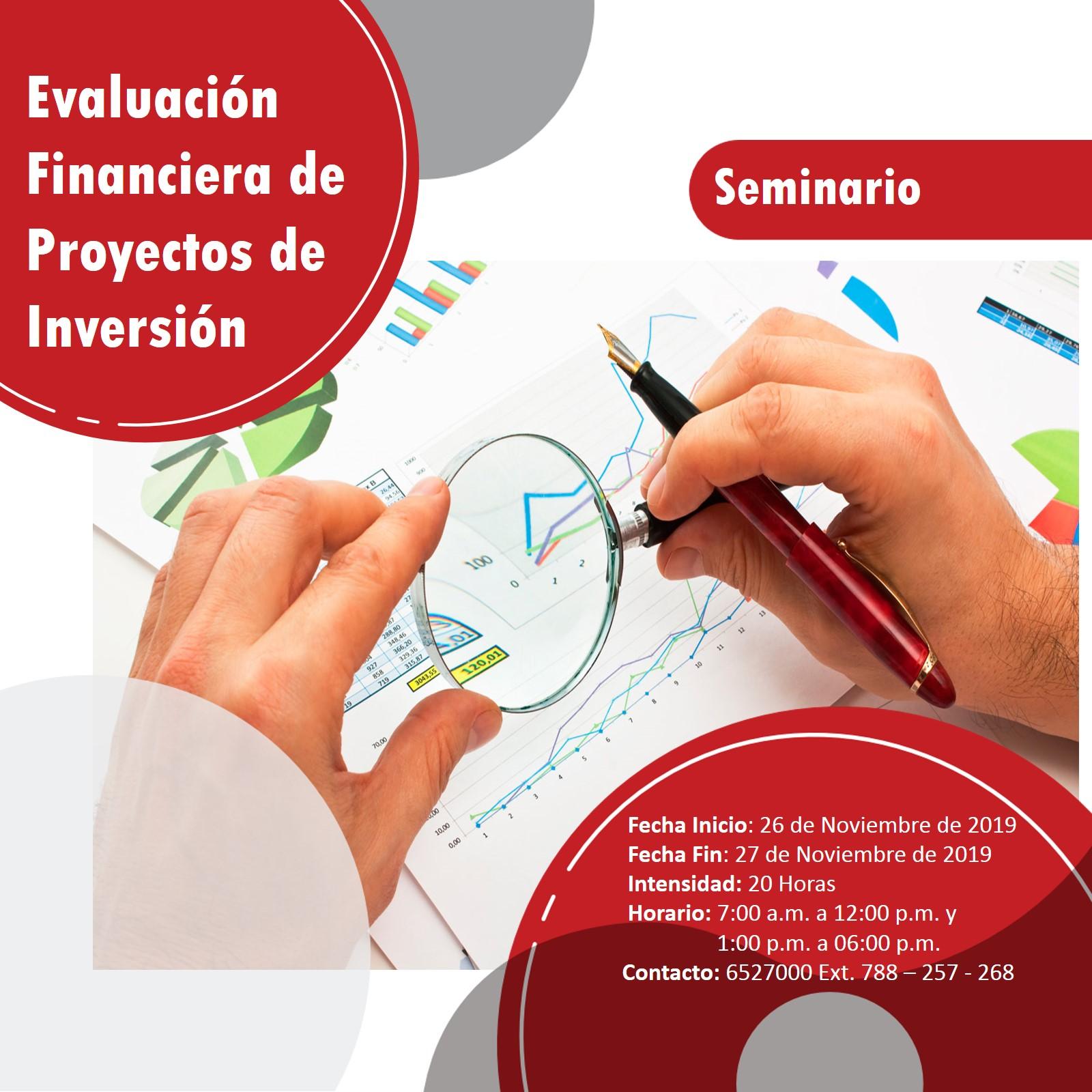 SEMINARIO EVALUACIÓN FINANCIERA DE PROYECTOS DE INVERSIÓN